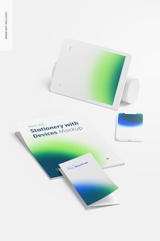 Stationery with devices mockup