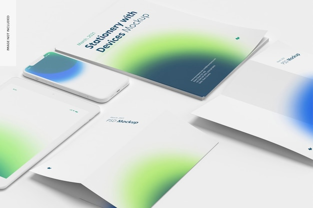 Stationery with devices set mockup