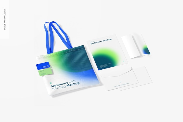Stationery with tote bag mockup