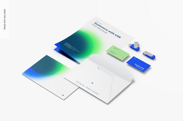 Usb 플래시 드라이브가있는 편지지 모형, rigth보기