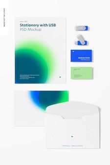 Usb 플래시 드라이브가있는 편지지 모형, 평면도 프리미엄 PSD 파일