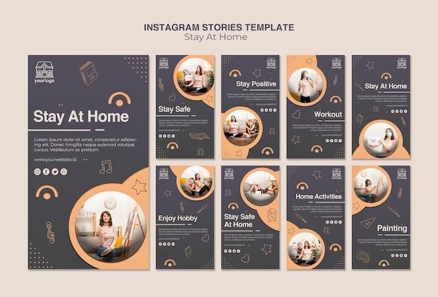 Оставайтесь дома концепции instagram instagram истории шаблонов