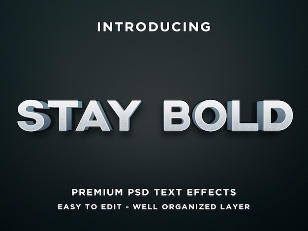 Stay bold, 3d text effect premium psd