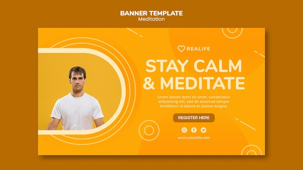 Stay calm and meditate banner template