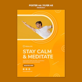 Stay calm and meditate flyer template