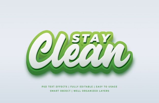 Stay clean 3d text style effect