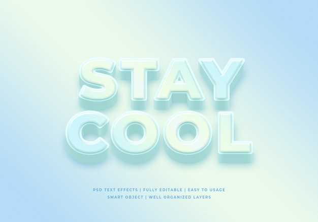 Stay cool 3d text style effect