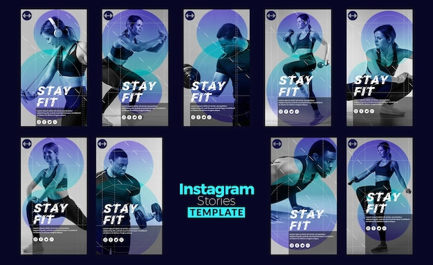 Stay fit concept instagram stories template