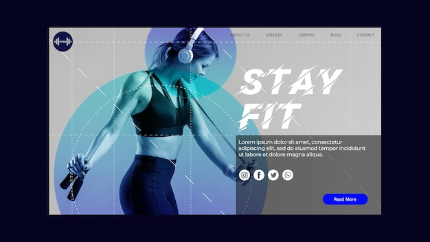 Stay fit concept landing page template