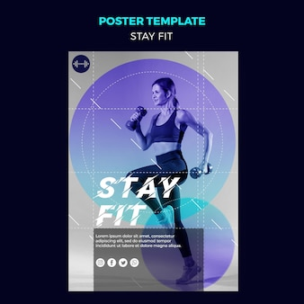 Stay fit concept poster template