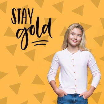 Stay gold cute young girl