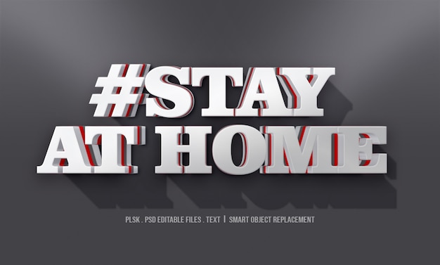 #stay at home 3d text style effect mockup