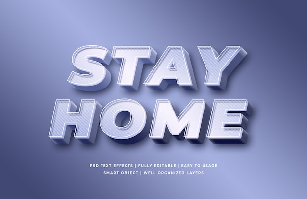 Stay home 3d text style effect