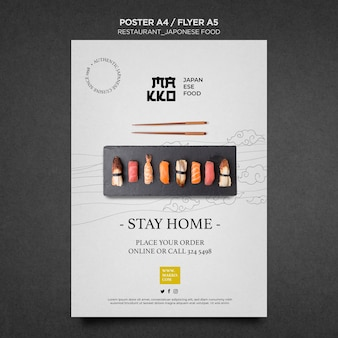 Оставайся дома и ешь суши плакат для печати шаблон