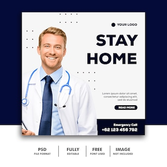 Stay home banner template