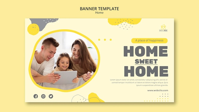 stay at home banner template