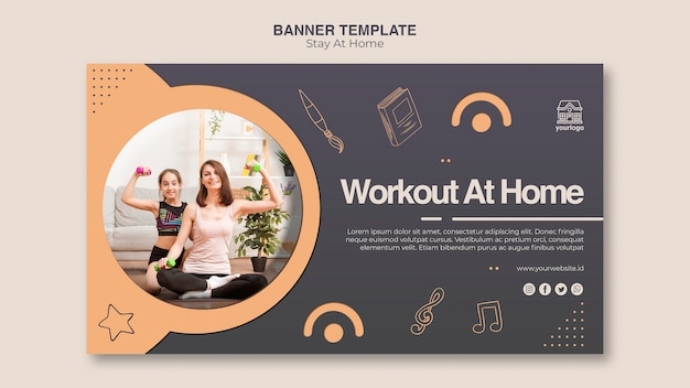 Stay at home concept banner template