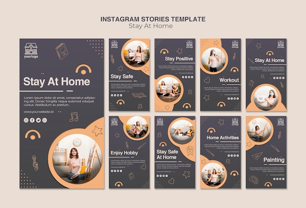 Stay at home concept instagram stories template