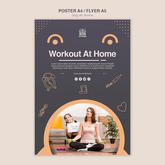 Stay at home concept poster template