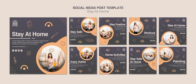 Stay at home concept social media post template