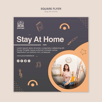 Stay at home concept square flyer template