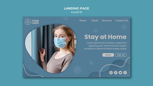 Stay at home coronavirus concept landing page