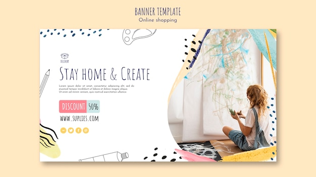 Stay home and create banner template