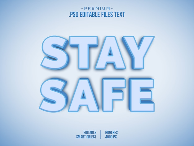 Оставайтесь дома редактируемый текстовый шаблон эффекта, белый синий корона вирус 3d стиль текста, lockdown корона вирус 3d текст стиль эффекта