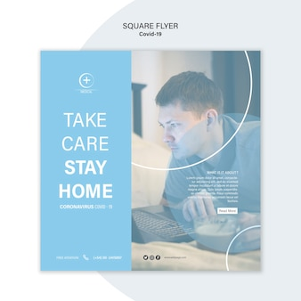 Stay at home flyer template