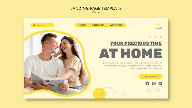 Stay at home landing page template
