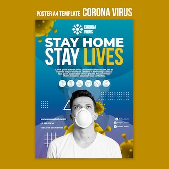 Stay home save livesposter template