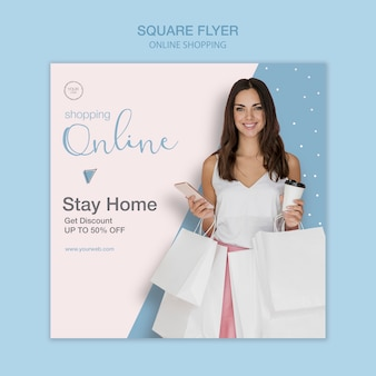 Stay home shop online square flyer template