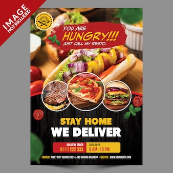 Stay home we deliver flyer
