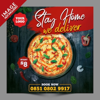 Stay home we deliver food social media post psd template