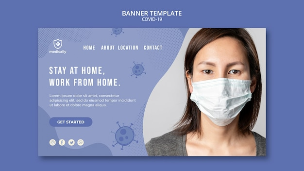 Stay at home and wear mask covid-19 banner template