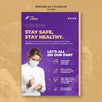 Stay safe and healthy covid-19 flyer template