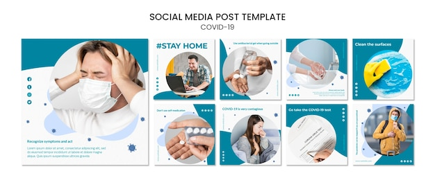 Оставайтесь в безопасности в помещении covid-19 пост в социальных сетях