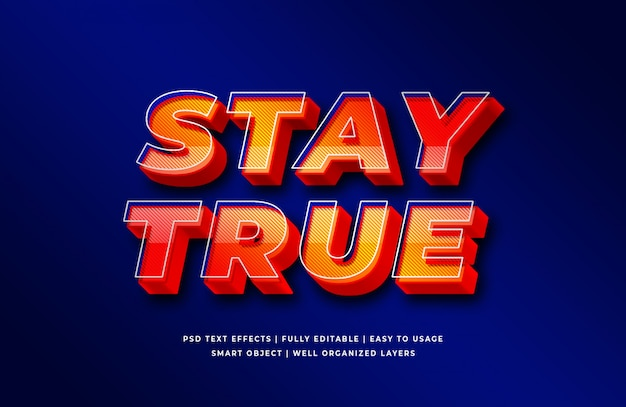 Stay true 3d text style effect