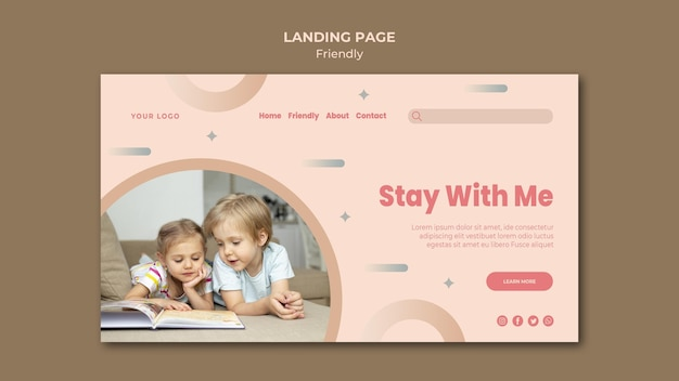 Stay with me friendship landing page template
