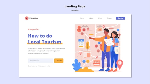 Staycation concept landing page style