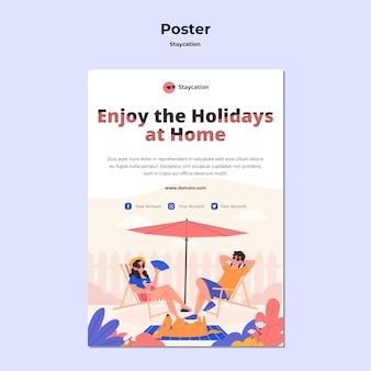 Staycation концепция дизайна плаката