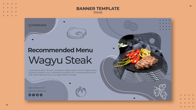 Steak banner template design