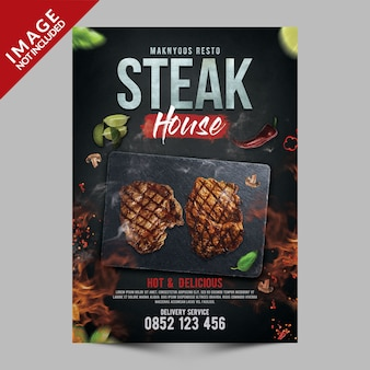 Steak house poster template