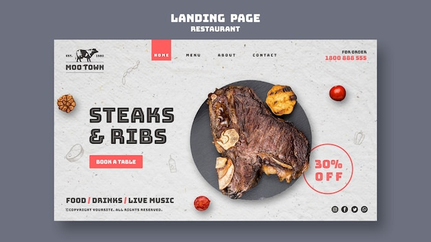 Steak restaurant template landing page