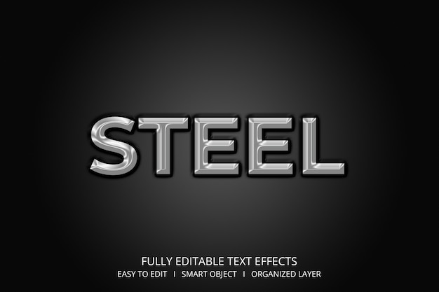 Steel 3d style text effect