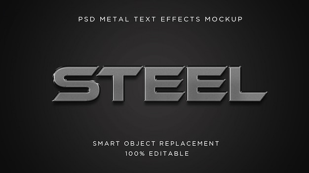 Steel 3d text effect psdモックアップ