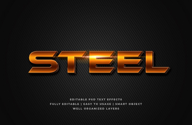 Steel 3d text style effect