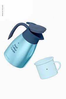 강철 커피 물병 목업, 떨어지는