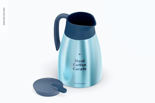 강철 커피 물병 목업, 등각 투영 뷰 열림