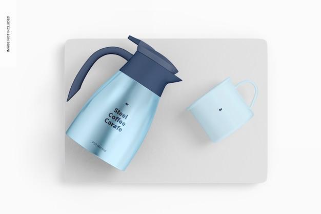 강철 커피 물병 목업, 평면도 무료 PSD 파일